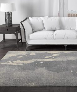 Zeus Abstract Watercolour Grey Rug in Lounge